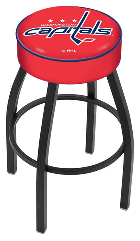 "30"" L8B1 - 4"" Washington Capitals Cushion Seat with Black Wrinkle Base Swivel Bar Stool by Holland Bar Stool Company"