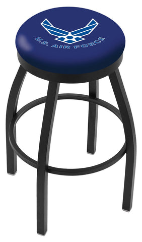 "30"" L8B2B - Black Wrinkle U.S. Air Force Swivel Bar Stool with Accent Ring by Holland Bar Stool Company"