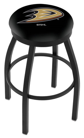 "30"" L8B2B - Black Wrinkle Anaheim Ducks Swivel Bar Stool with Accent Ring by Holland Bar Stool Company"