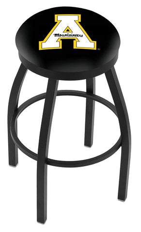 "ASU Mountaineers 30"" L8B2B - Black Wrinkle Appalachian State Swivel Bar Stool with Accent Ring by Holland Bar Stool Company"