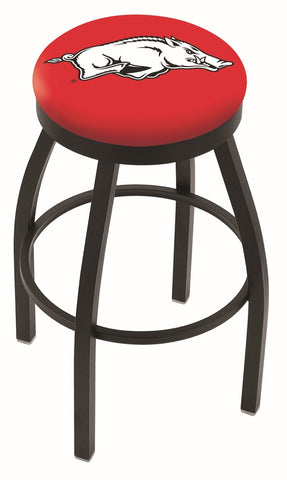 "Arkansas Razorbacks 30"" L8B2B - Black Wrinkle Arkansas Swivel Bar Stool with Accent Ring by Holland Bar Stool Company"