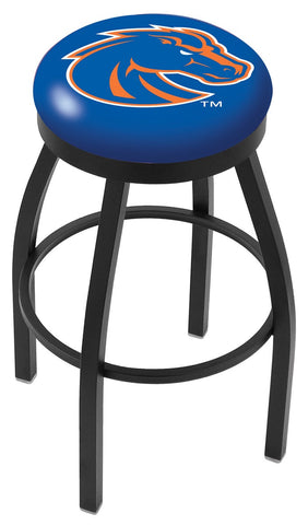 "BSU Broncos 30"" L8B2B - Black Wrinkle Boise State Swivel Bar Stool with Accent Ring by Holland Bar Stool Company"