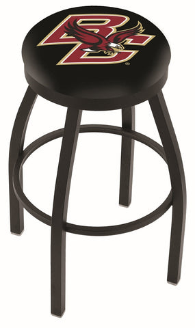 "BC Eagles 30"" L8B2B - Black Wrinkle Boston College Swivel Bar Stool with Accent Ring by Holland Bar Stool Company"