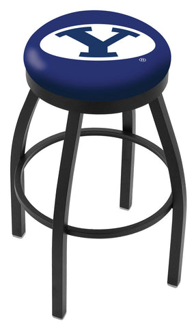 "BYU Cougars 30"" L8B2B - Black Wrinkle Brigham Young Swivel Bar Stool with Accent Ring by Holland Bar Stool Company"