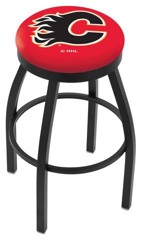 "30"" L8B2B - Black Wrinkle Calgary Flames Swivel Bar Stool with Accent Ring by Holland Bar Stool Company"