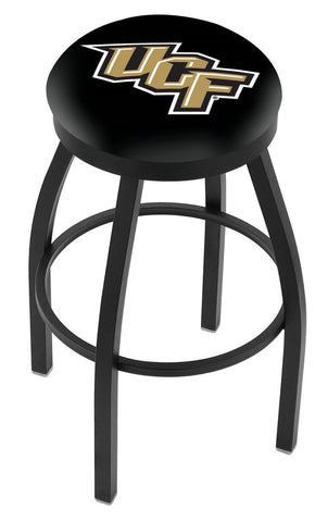 "UCF Knights 30"" L8B2B - Black Wrinkle Central Florida Swivel Bar Stool with Accent Ring by Holland Bar Stool Company"