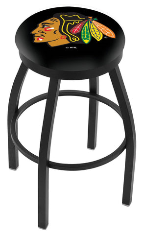"30"" L8B2B - Black Wrinkle Chicago Blackhawks Swivel Bar Stool with Accent Ring by Holland Bar Stool Company"