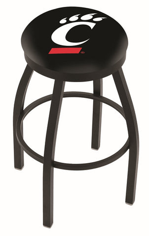 "UC Bearcats 30"" L8B2B - Black Wrinkle Cincinnati Swivel Bar Stool with Accent Ring by Holland Bar Stool Company"