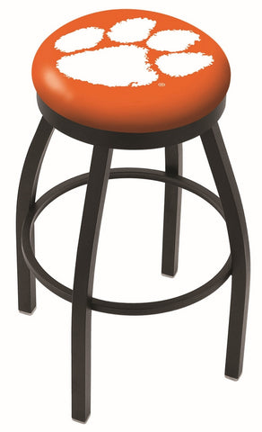"Clemson  Tigers 30"" L8B2B - Black Wrinkle Clemson Swivel Bar Stool with Accent Ring by Holland Bar Stool Company"