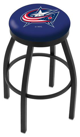 "30"" L8B2B - Black Wrinkle Columbus Blue Jackets Swivel Bar Stool with Accent Ring by Holland Bar Stool Company"