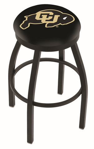 "Colorado Buffaloes 30"" L8B2B - Black Wrinkle Colorado Swivel Bar Stool with Accent Ring by Holland Bar Stool Company"