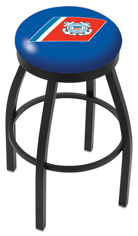 "30"" L8B2B - Black Wrinkle U.S. Coast Guard Swivel Bar Stool with Accent Ring by Holland Bar Stool Company"