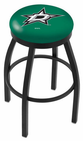 "30"" L8B2B - Black Wrinkle Dallas Stars Swivel Bar Stool with Accent Ring by Holland Bar Stool Company"