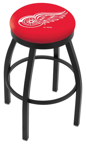 "30"" L8B2B - Black Wrinkle Detroit Red Wings Swivel Bar Stool with Accent Ring by Holland Bar Stool Company"