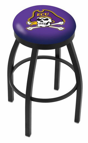 "ECU Pirates 30"" L8B2B - Black Wrinkle East Carolina Swivel Bar Stool with Accent Ring by Holland Bar Stool Company"