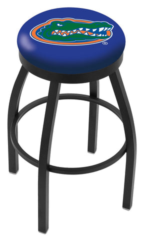 "UF Gators 30"" L8B2B - Black Wrinkle Florida Swivel Bar Stool with Accent Ring by Holland Bar Stool Company"
