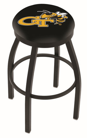 "Georgia Tech Yellow Jackets 30"" L8B2B - Black Wrinkle Georgia Tech Swivel Bar Stool with Accent Ring by Holland Bar Stool Company"