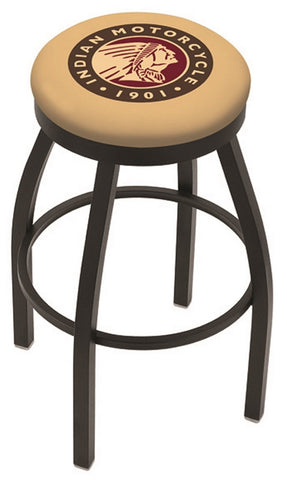 "30"" L8B2B - Black Wrinkle Indian Motorcycle Swivel Bar Stool with Accent Ring by Holland Bar Stool Company"