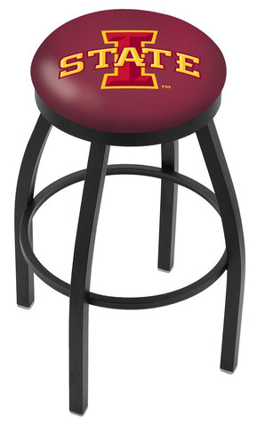 "ISU Cyclones 30"" L8B2B - Black Wrinkle Iowa State Swivel Bar Stool with Accent Ring by Holland Bar Stool Company"