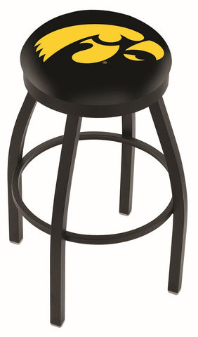 "Iowa Hawkeyes 30"" L8B2B - Black Wrinkle Iowa Swivel Bar Stool with Accent Ring by Holland Bar Stool Company"