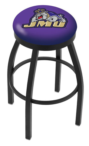 "JMU Dukes 30"" L8B2B - Black Wrinkle James Madison Swivel Bar Stool with Accent Ring by Holland Bar Stool Company"