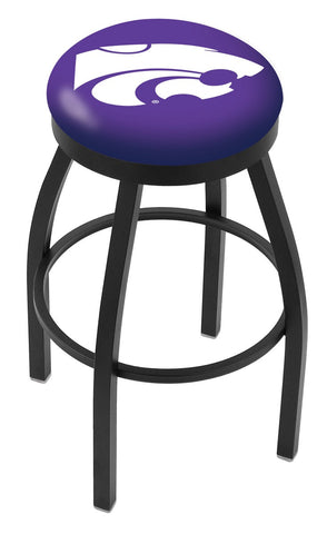 "KSU Wildcats 30"" L8B2B - Black Wrinkle Kansas State Swivel Bar Stool with Accent Ring by Holland Bar Stool Company"