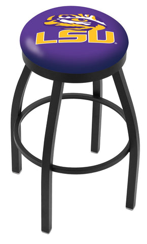"LSU Tigers 30"" L8B2B - Black Wrinkle Louisiana State Swivel Bar Stool with Accent Ring by Holland Bar Stool Company"
