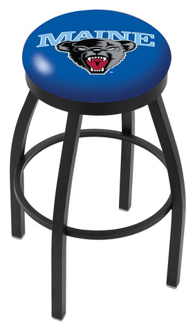 "Maine Black Bears 30"" L8B2B - Black Wrinkle Maine Swivel Bar Stool with Accent Ring by Holland Bar Stool Company"