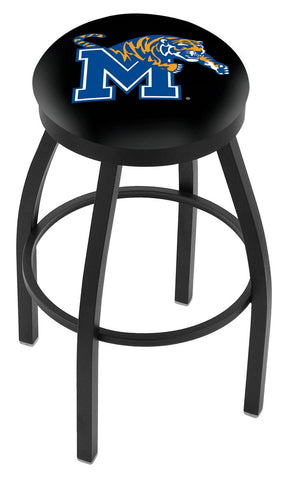 "Memphis Tigers 30"" L8B2B - Black Wrinkle Memphis Swivel Bar Stool with Accent Ring by Holland Bar Stool Company"