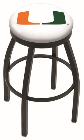 "Miami Hurricanes 30"" L8B2B - Black Wrinkle Miami (FL) Swivel Bar Stool with Accent Ring by Holland Bar Stool Company"