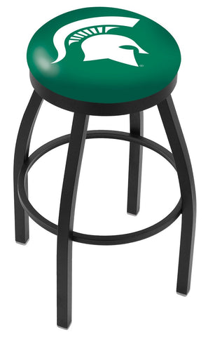 "MSU Spartans 30"" L8B2B - Black Wrinkle Michigan State Swivel Bar Stool with Accent Ring by Holland Bar Stool Company"