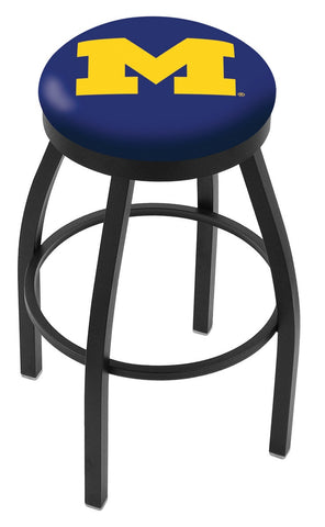 "Michigan Wolverines 30"" L8B2B - Black Wrinkle Michigan Swivel Bar Stool with Accent Ring by Holland Bar Stool Company"