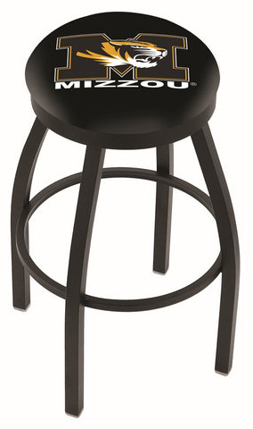 "Mizzou Tigers 30"" L8B2B - Black Wrinkle Missouri Swivel Bar Stool with Accent Ring by Holland Bar Stool Company"