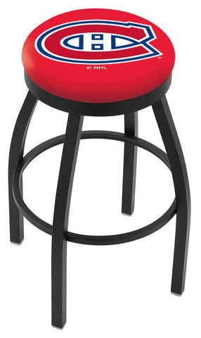 "30"" L8B2B - Black Wrinkle Montreal Canadiens Swivel Bar Stool with Accent Ring by Holland Bar Stool Company"