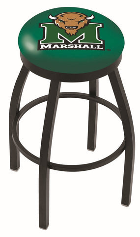 "Marshall  Thundering Herd 30"" L8B2B - Black Wrinkle Marshall Swivel Bar Stool with Accent Ring by Holland Bar Stool Company"