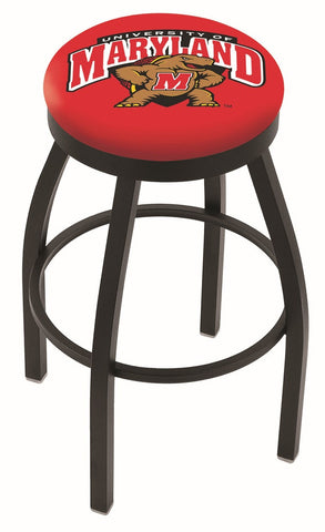 "UM Terrapins 30"" L8B2B - Black Wrinkle Maryland Swivel Bar Stool with Accent Ring by Holland Bar Stool Company"