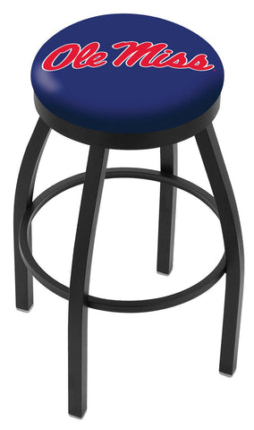 "Ole Miss Rebels 30"" L8B2B - Black Wrinkle Ole' Miss Swivel Bar Stool with Accent Ring by Holland Bar Stool Company"