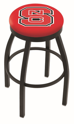 "NC State Wolfpack 30"" L8B2B - Black Wrinkle North Carolina State Swivel Bar Stool with Accent Ring by Holland Bar Stool Company"
