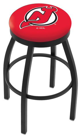 "30"" L8B2B - Black Wrinkle New Jersey Devils Swivel Bar Stool with Accent Ring by Holland Bar Stool Company"