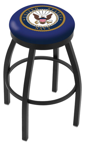 "30"" L8B2B - Black Wrinkle U.S. Navy Swivel Bar Stool with Accent Ring by Holland Bar Stool Company"