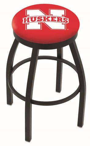 "Nebraska Cornhuskers 30"" L8B2B - Black Wrinkle Nebraska Swivel Bar Stool with Accent Ring by Holland Bar Stool Company"