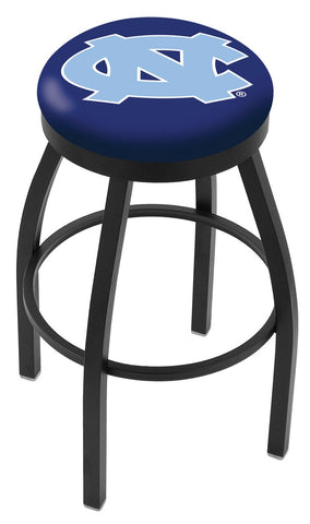 "UNC Tar Heels 30"" L8B2B - Black Wrinkle North Carolina Swivel Bar Stool with Accent Ring by Holland Bar Stool Company"