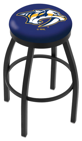 "30"" L8B2B - Black Wrinkle Nashville Predators Swivel Bar Stool with Accent Ring by Holland Bar Stool Company"