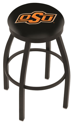 "OSU Cowboys 30"" L8B2B - Black Wrinkle Oklahoma State Swivel Bar Stool with Accent Ring by Holland Bar Stool Company"
