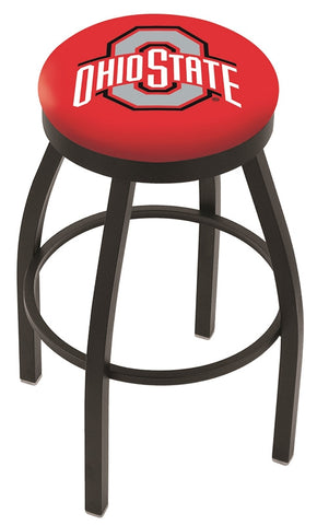 "OSU Buckeyes 30"" L8B2B - Black Wrinkle Ohio State Swivel Bar Stool with Accent Ring by Holland Bar Stool Company"