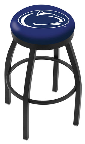"PSU Nittany Lions 30"" L8B2B - Black Wrinkle Penn State Swivel Bar Stool with Accent Ring by Holland Bar Stool Company"