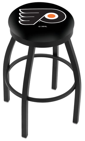 "30"" L8B2B - Black Wrinkle Philadelphia Flyers Swivel Bar Stool with Accent Ring by Holland Bar Stool Company"