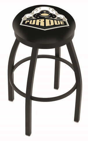 "Purdue  Boilermakers 30"" L8B2B - Black Wrinkle Purdue Swivel Bar Stool with Accent Ring by Holland Bar Stool Company"