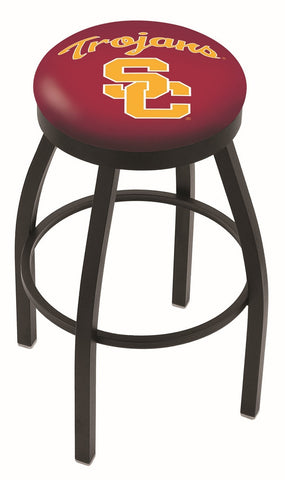 "USC Trojans 30"" L8B2B - Black Wrinkle USC Trojans Swivel Bar Stool with Accent Ring by Holland Bar Stool Company"