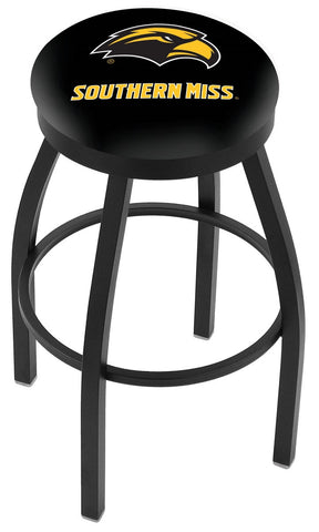 "Southern Miss Golden Eagles 30"" L8B2B - Black Wrinkle Southern Miss Swivel Bar Stool with Accent Ring by Holland Bar Stool Company"